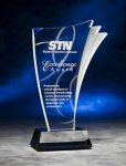 Wave Side Clear Acrylic Award Black Acrylic