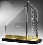 Multi-Faceted Dual Acrylic Column with Base Accent Color Color Acrylic Awards