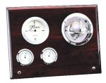 Piano Finish  Wood Weather Center with Globe Desk Clocks