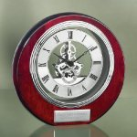 Circle Clock with Exposed Gears in Chrome Desk Clocks