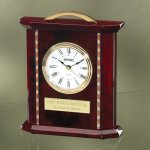 Wood with Decorative Wood Inlays Desk Clocks