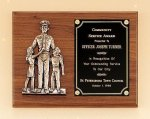 Police Award Casting on Walnut Plaque Fireman/Police & Safety Awards