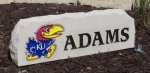 PERSONALIZED XL PORCH STONE WITH LOGO AT LEFT AND NAME AT RIGHT KANSAS JAYHAWKS