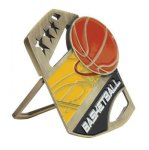 Basketball Color Medal Free Standing Or With Ribbon Medals