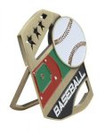Baseball Color Medal Free Standing Or With Ribbon Medals