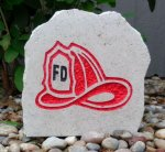 FIREFIGHTER DESK STONE WITH HELMET EMBLEM MILITARY, PATRIOTIC & FIRST RESPONDERS