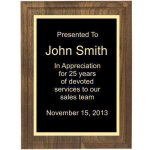 Two Step Solid Walnut Plaque Recognition Plaques