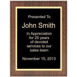 Walnut Veneer Recognition Plaque Value Line Plaques