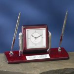 Dual Clock Pen Holder Wood Metal Accent Awards