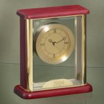 Glass Box Clock Wood Metal Accent Awards